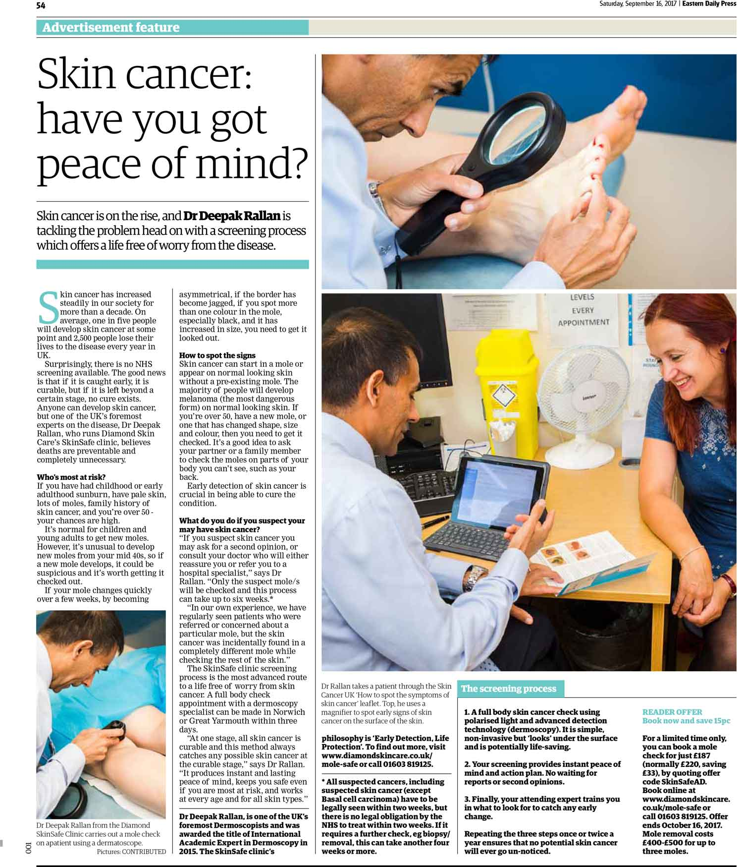 Skin cancer advertorial for Diamond Skincare