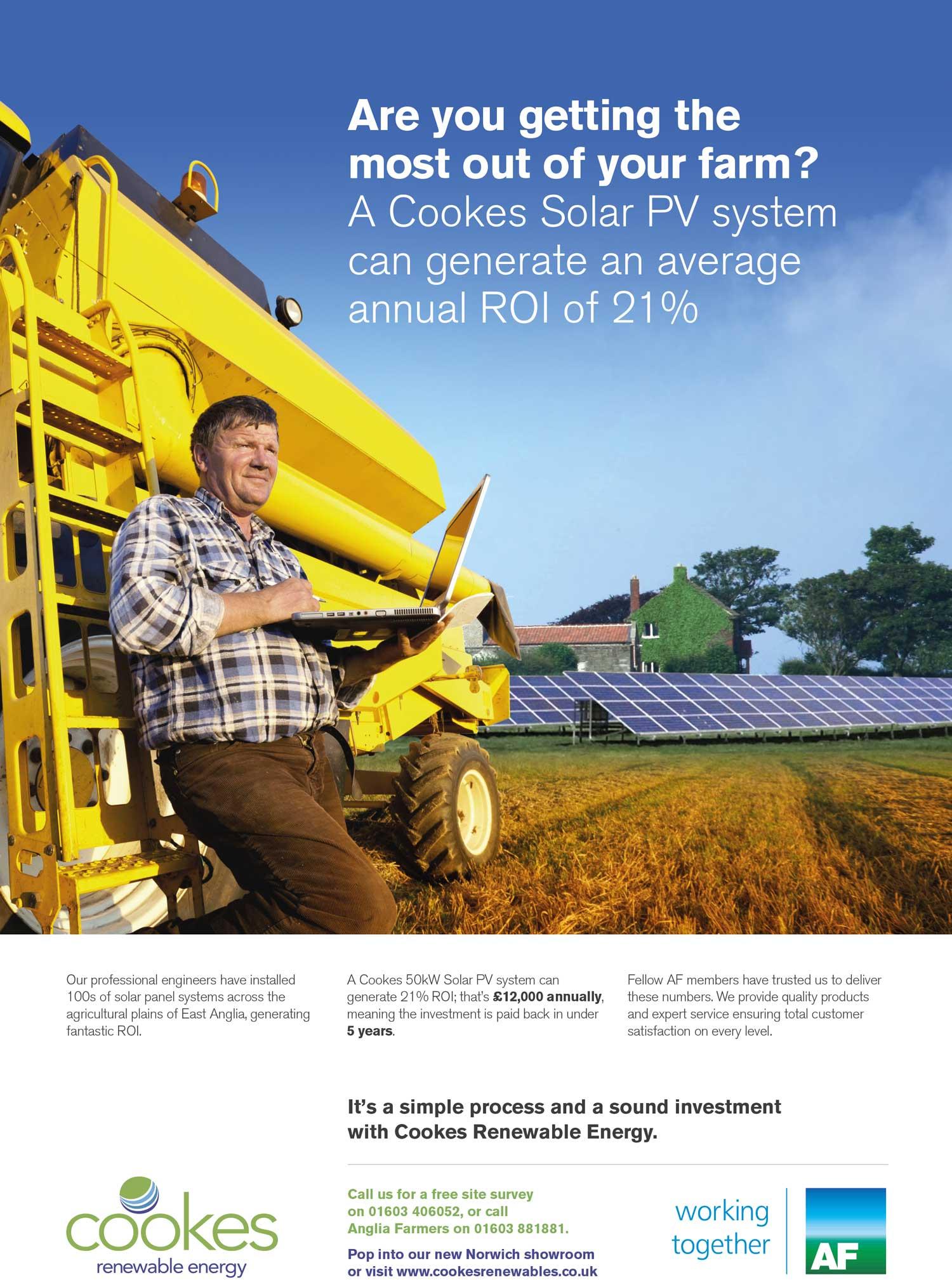 Magazine advertising for Cookes renewable energy