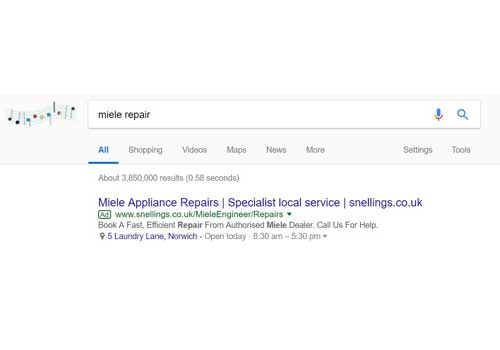 Google Adwords PPC advertsing for Miele appliance repairs at Snellings