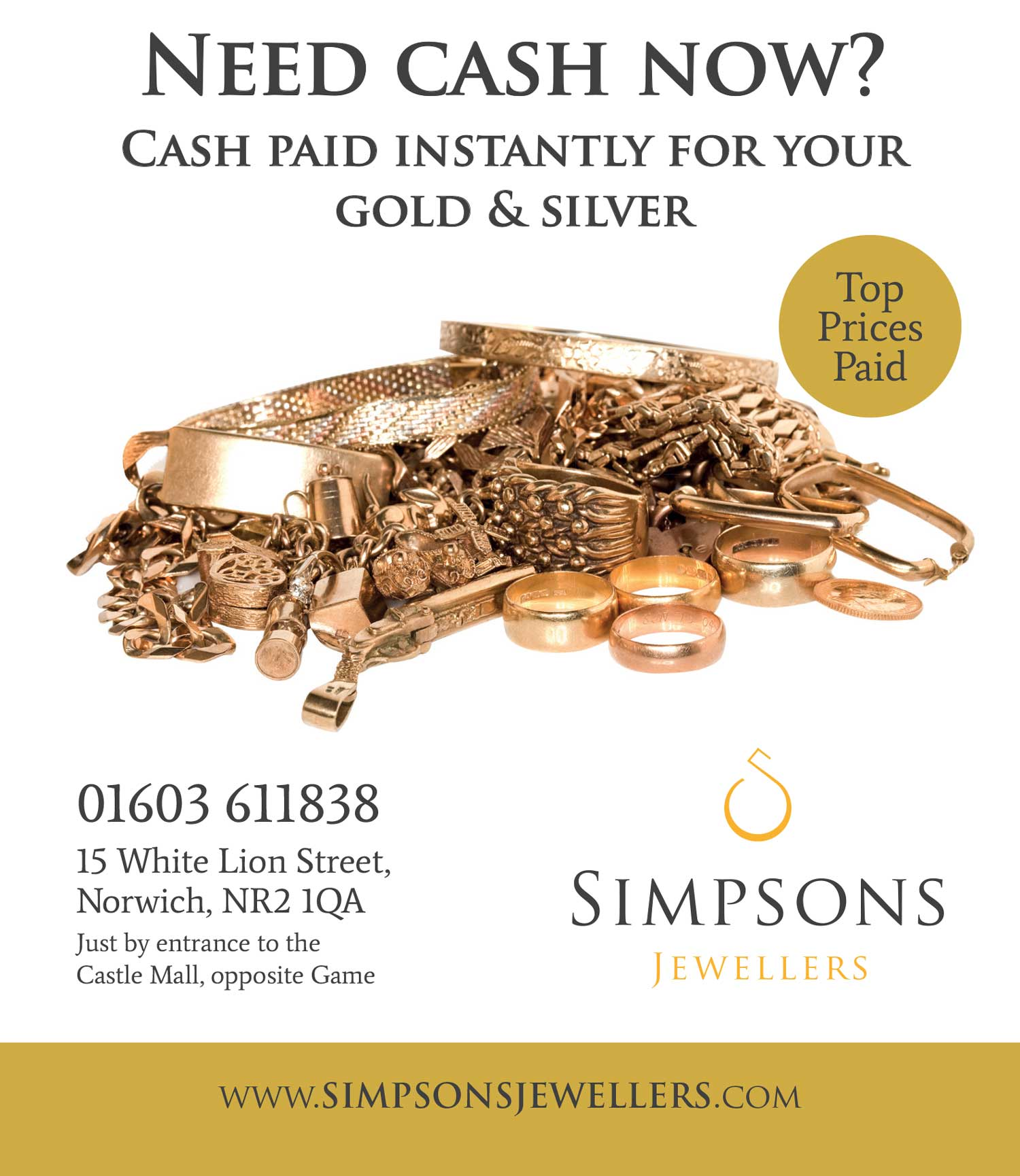 Newspaper advertising for Simpsons Jewellers